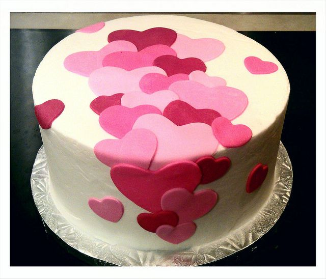 Layering sugarpaste would look good with hearts on wires too