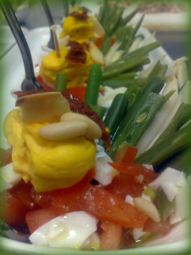 Fresh salad, mousse of egg with spicy mayonnaise