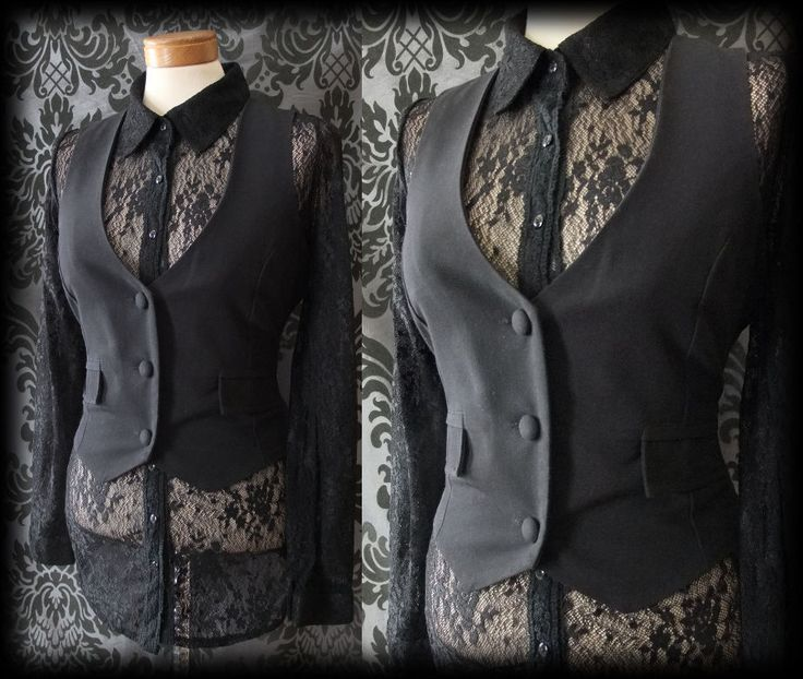 Gothic Black Fitted LIFE OF SHADOWS Corset Waistcoat 10 12 Steampunk Victorian