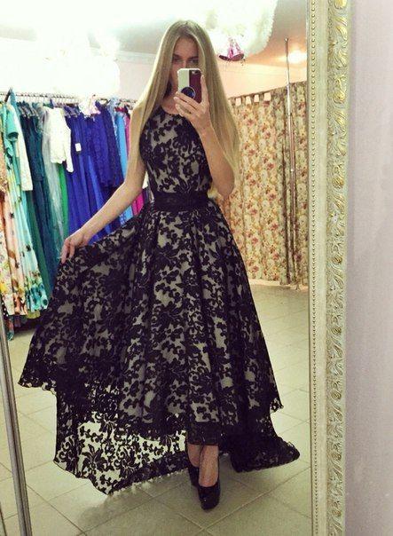 Gorgeous Black Asymetrical Hem Lace Dress