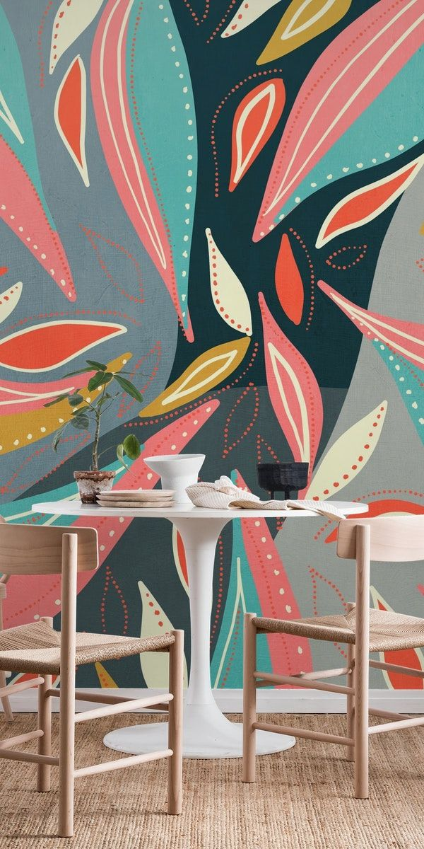 Abstract Floral 4 Wallpaper Modern Floral Wallpaper Abstract Wallpaper Wall Murals