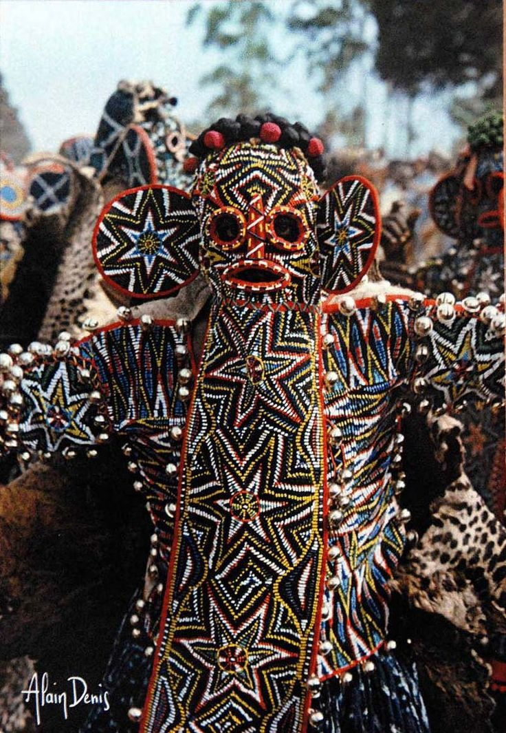 Africa | Bamileke Masquerader. Bana, Cameroon. || Scanned postcard; published by Cinedia, photo by Alain Denis.