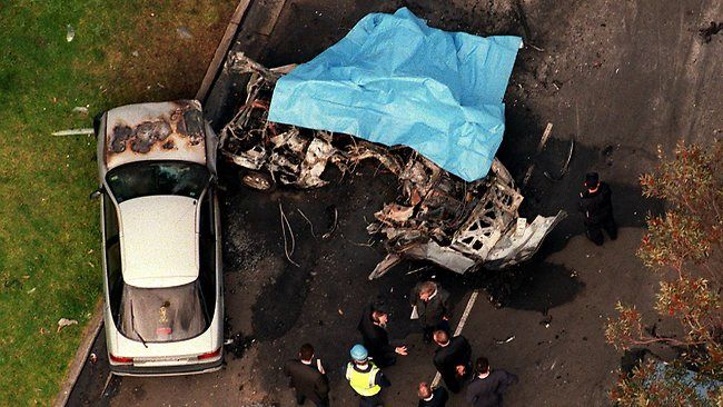 An aerial view of the blast in Coburg in which John Furlan was killed. Picture: Jay Town Source: HeraldSun