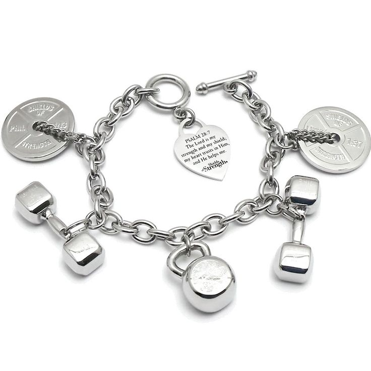 Shields of Strength - 5 Charm Stainless Steel Fitness Bracelet, $249.99 (http://www.shieldsofstrength.com/5-charm-stainless-steel-fitness-bracelet/)