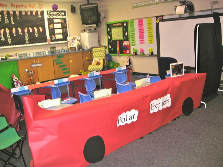 Create the Polar Express train in your room using butcher block paper and desks! Quick and easy!