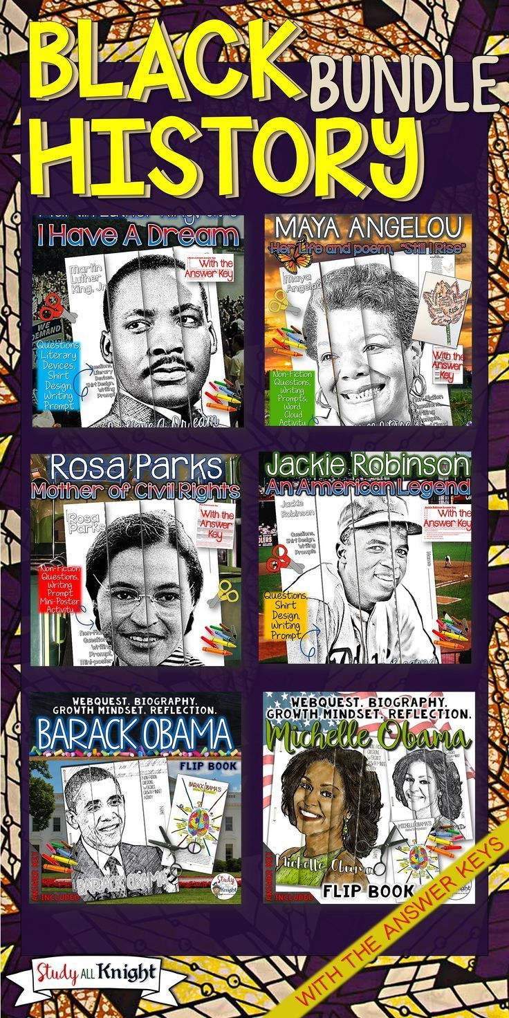 Black History Month is February! This bundle highlights American stories of famous, brave, respected, and accomplished heroes. Explore Martin Luther King, Jr., Maya Angelou, Rosa Parks, Jackie Robinson, Barack Obama, and Michelle Obama. Your students will engage in reading the biographies, writing textual evidence, webquest, speech analysis, poetry, and growth mindset activities. Skills reinforced are using textual evidence, inference, and analysis.($)