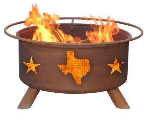 """Patina Products Texas State & Stars by Patina. $234.99. Color: Natural Rust Patina.. Weight - 50 lbs. Materials: 16 Gauge Cold Rolled Steel. Measurements: Bowl - 24"""" dia Safety Ring - 30"""" dia. Overall Height - 16"""". Heat Source: Wood or Charcoal. Included: Poker, BBQ Grill, Spark Screen and Weather Cover.. Natural rust patina finish ages beautifully over time. Portable design allows fire pit to move easily from patio to beach and beyond. Safety ring surrounding fire ..."""