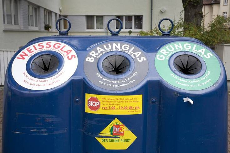 Public glass waste collection point in the city of Frankfurt, Germany (in 2011)....