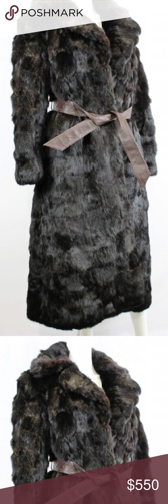 Genuine China Rabbit Fur Coat Leather Trim Dark Brown  Rabbit Fur/Leather Trim  SHOULDERS(in.): 15.0  ARMS(in.): 23.0  CHEST/BUST(in.): 36.0  LENGTH(in.): 52.0 General Wear Crown Colony Furriers Jackets & Coats Trench Coats