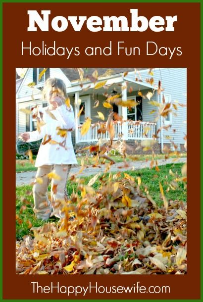 November Holidays and Fun Days | The Happy Housewife