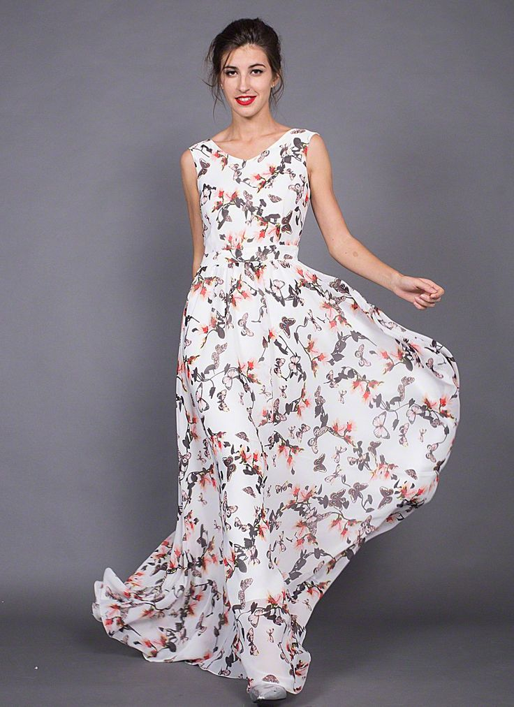 Long White Chiffon Maxi V Neck Sundress with Pink and Grey Butterfly Print/ Sleeveless Butterfly Pattern White Maxi Length Summer Dress