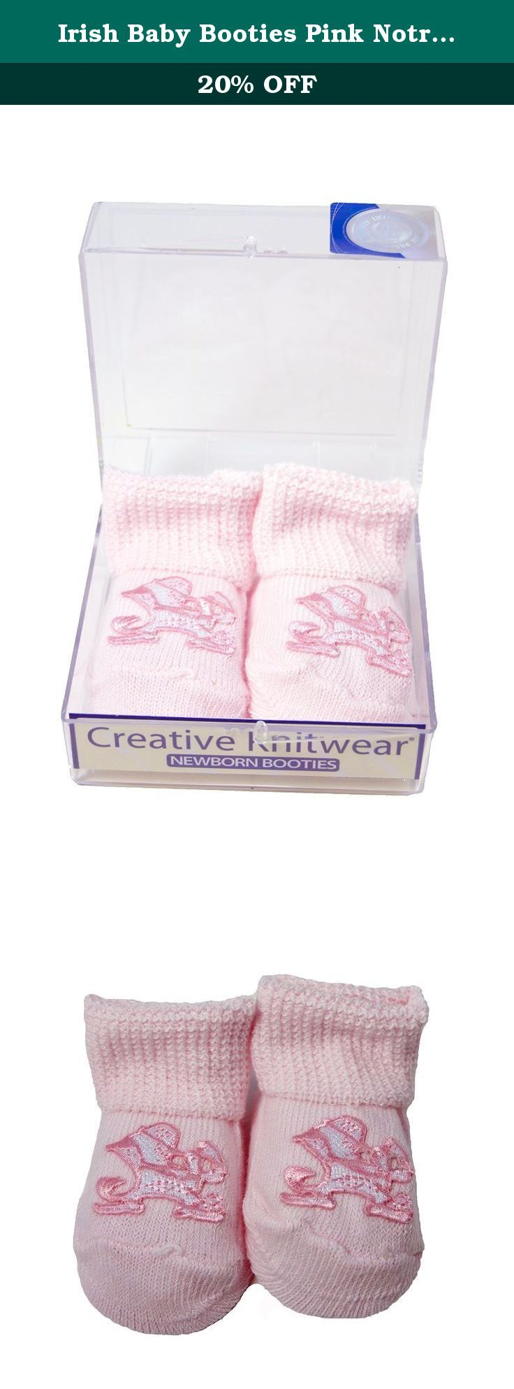 Irish Baby Booties Pink Notre Dame Gift Boxed. Get your wee one an adorable pair of Irish booties to keep their little feet warm as well as for a too cute look! These soft booties come in a variety of colors each with a different Irish symbol! The newborn booties are made from 75% cotton, 20% nylon, & 5% spandex for warmth, a soft touch and for easy machine washing! Keep their tiny toes warm with one or more pairs of these Irish baby booties!.