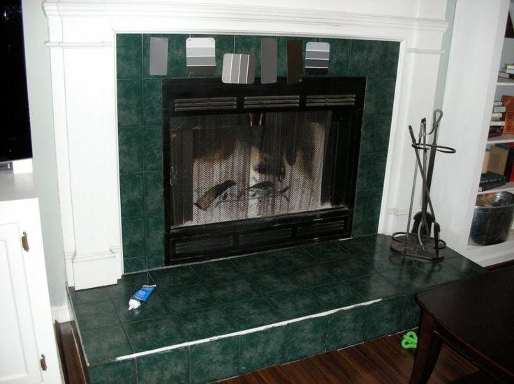 Tile around Fireplace: Astonishing Green Tile Around Fireplace ...