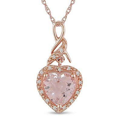 "1-3/4 ct.t.w. Morganite and Diamond Accent Heart Pendant in 10k Pink Gold, 17"" Amour. Save 51 Off!. $225.99"