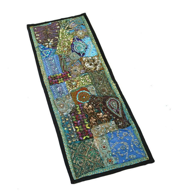"""30X10"""" Indian Silk Home Decor Antique & Beaded Unique Design Patchwork Tapestry  #Namasteart #AntiqueStyle"""