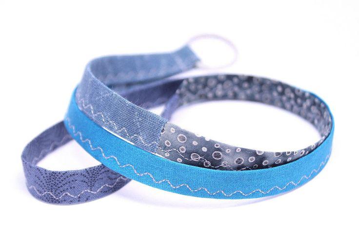 Schlüsselband Lanyard Boho hippie Gypsy Bohemian handmade grau petrol blau