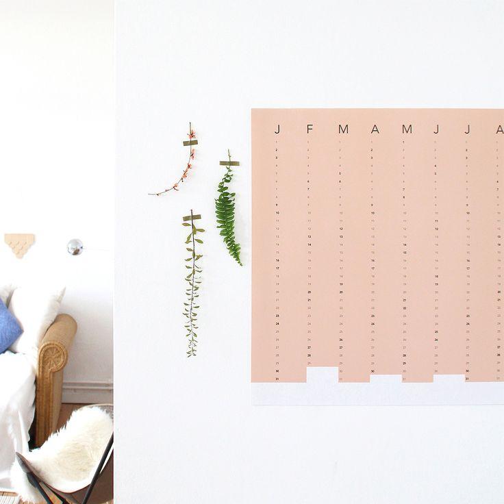SNUG.COLUMN wall calendar 2016 // in terracotta and dove blue
