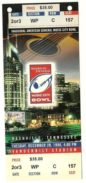1998 Music City Bowl Game Full Ticket VA Tech Alabama.....if you like this you can find many more college bowl game tickets for sale at.....www.everythingcollectibles.biz