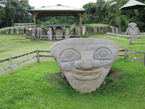 San Agustín Archaeological Park, Colombia. The largest group of religious monuments and megalithic sculptures in South America stands in a wild, spectacular landscape. Gods and mythical animals are skilfully represented in styles ranging from abstract to realist. These works of art display the creativity and imagination of a northern Andean culture that flourished from the 1st to the 8th century.
