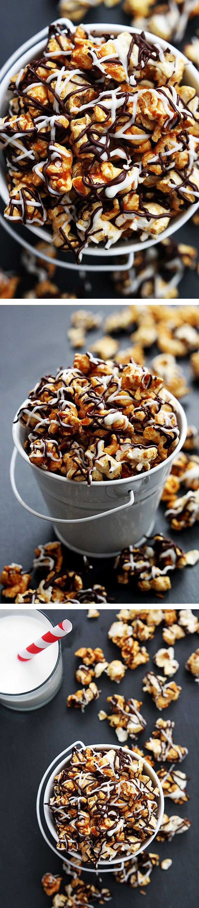 Zebra Caramel Corn - Be warned, this stuff is addicting! Perfectly sweet and salty crunchy caramel corn drizzled in two kinds of chocolate.