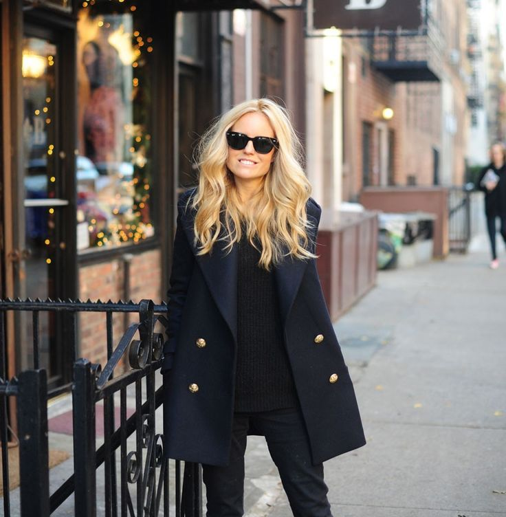 Awesome hair color + peacoat.