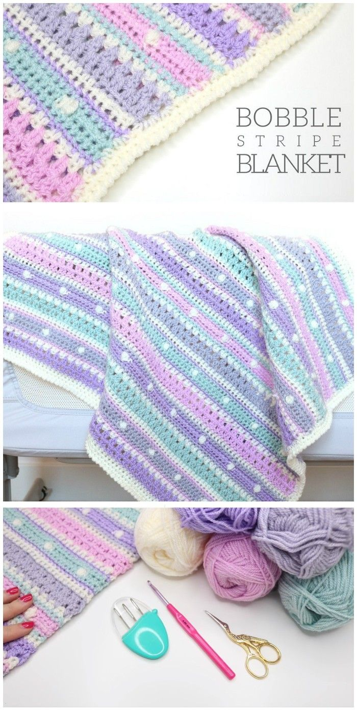 I have rounded up some of the best and interesting free #crochet #Blanket patterns for your home.Bobble Stripe Blanket Tutorial