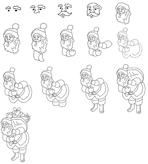 Step By Step How To Draw Santa Claws