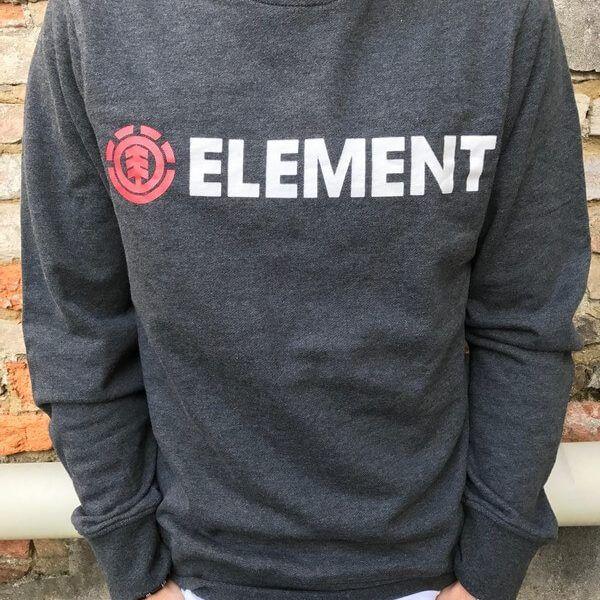 element felpa girocollo con logo grigio fronte