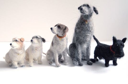 Small felt dogs by Scottish artist, Domenica More Gordon.