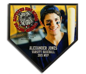 Custom Mini Home Plate Plaques personalized with team photo and text. Great gifts for baseball and softball players and coach from Dixie Midwest.