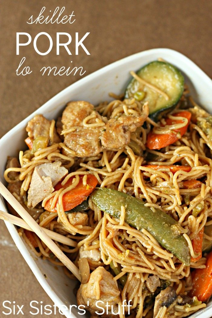 Skillet Pork Lo Mein from Six Sisters' Stuff. A delicious meal that the whole family will love!