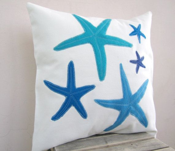 Nautical throw pillow: blue turquoise starfish pillow for beach house or cottage, eco friendly beach pillow
