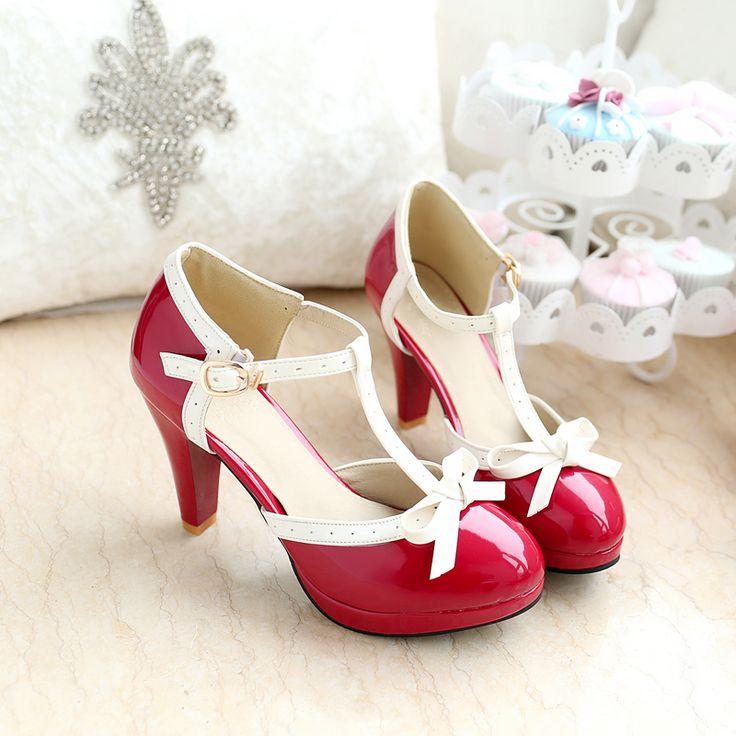 Big Size verão bombas princesa doçura mulheres sandálias 8,5 centímetros de salto alto T cintas menina PU lojas dedo do pé redondo sapatos de fábrica bowtie-nas bombas das mulheres de sapatos em Aliexpress.com | Alibaba Group