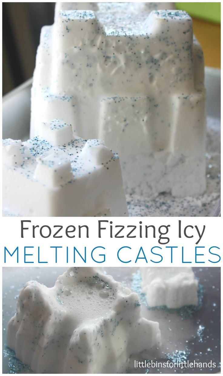 Make your own Frozen inspired melting castles with this super easy baking soda sensory dough that incorporates science learning! Kitchen cupboard recipe!