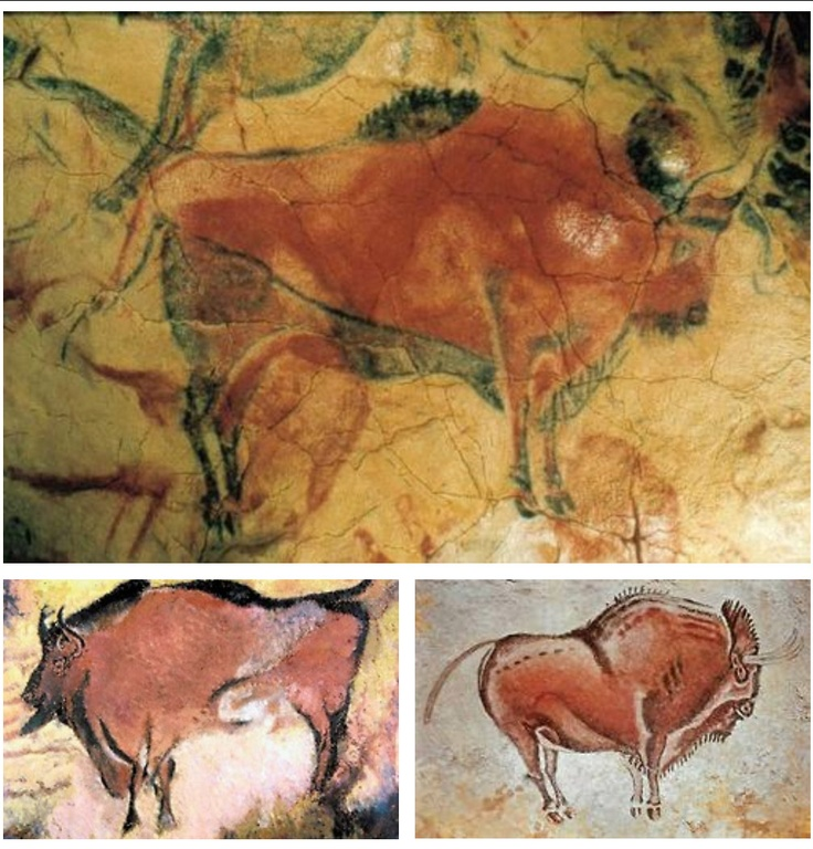 Altamira Cave Paintings. Upper Paleolithic paintings of animals such as wisent (European bison) and horses cover the low cave ceiling. It was discovered, by modern man at least, in 1880 and was the first example of prehistoric art ever discovered. It changed the views on our ancestors dramatically.