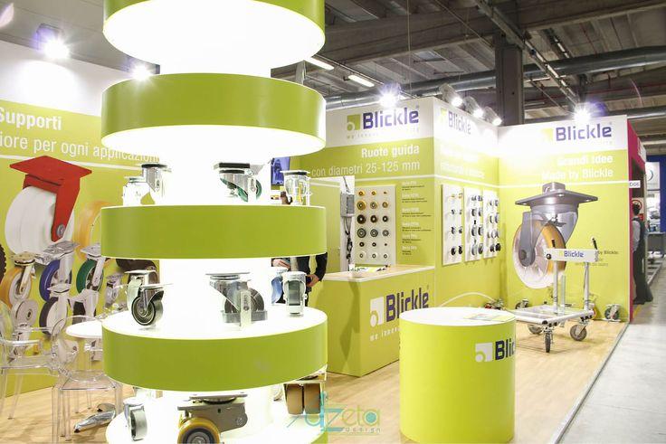 Stand dell'azienda Blickle realizzato da Azeta Design in occasione delle fiera Mecspe nell'anno 2017 nella città di Parma (IT).