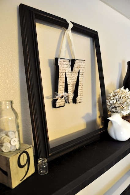 Hanging Letter Frame with ribbon and old book pages