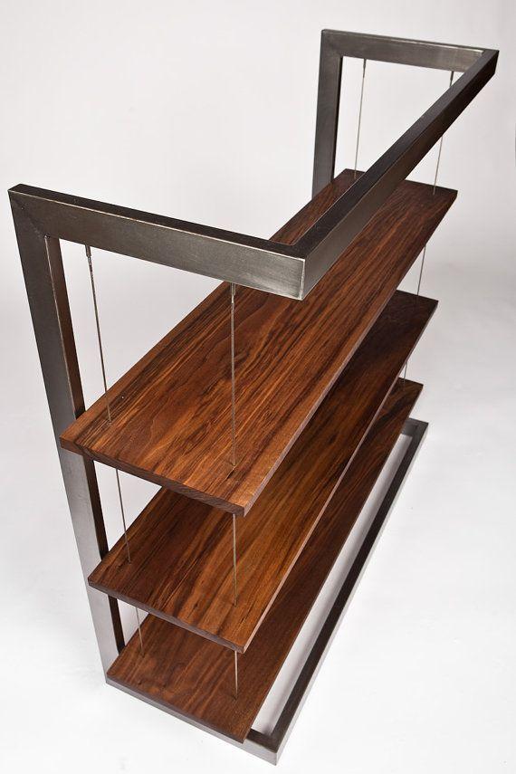 Modern Industrial Suspended Walnut Bookshelf Bookcase