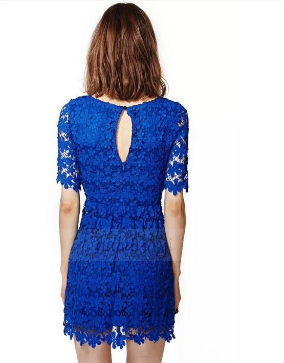 27AUD+shipping LITTLE BLUE DRESS for Datings / Colour: Cobalt blue/ Size: XS, S, M/ Material & Style: floral lace, crochet, polyester & lining