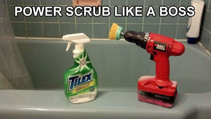 Scrub brush + power drill = GENIUS