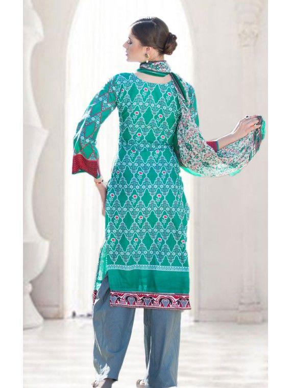Fascinating Jade Green and Grey Printed salwaar Suit