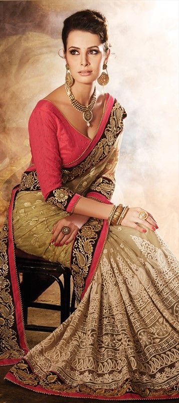 Party Wear Sarees, Embroidered Sarees, Net, Machine Embroidery, Stone, Zari, Border, Thread, Beige and Brown Color Family
