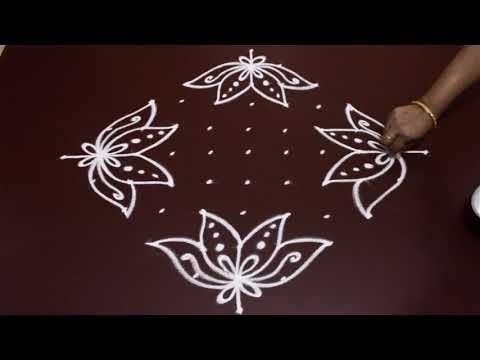 simple flower rangoli designs with 11 to 1 dots for beginners   small kolam designs   easy muggulu - YouTube