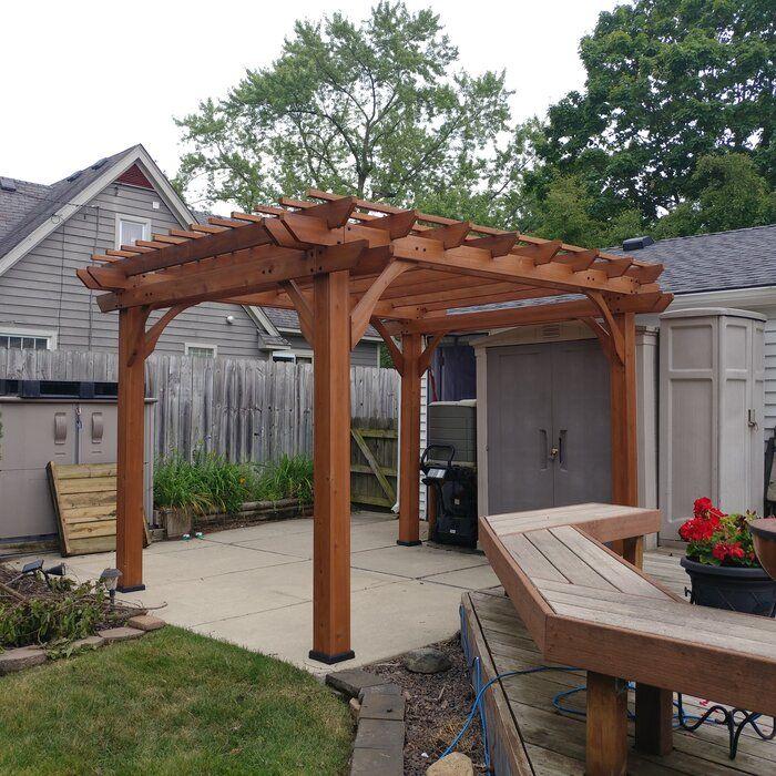 Cedar 12 Ft W X 10 Ft D Solid Wood Pergola Wood Pergola Diy Pergola Backyard Pergola
