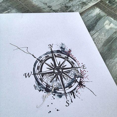 watercolor compass tattoo   Tumblr
