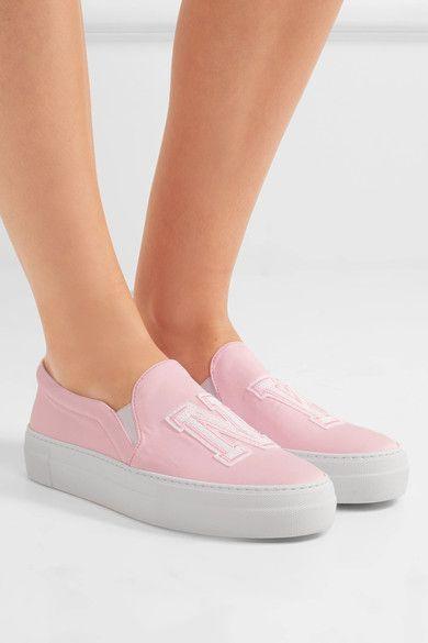 Joshua Sanders - Appliquéd Satin Slip-on Sneakers - Pink - IT40