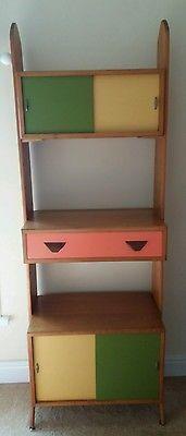 Vintage Herbert E Gibbs Tall Teak Adjustable Cupboard Shelving