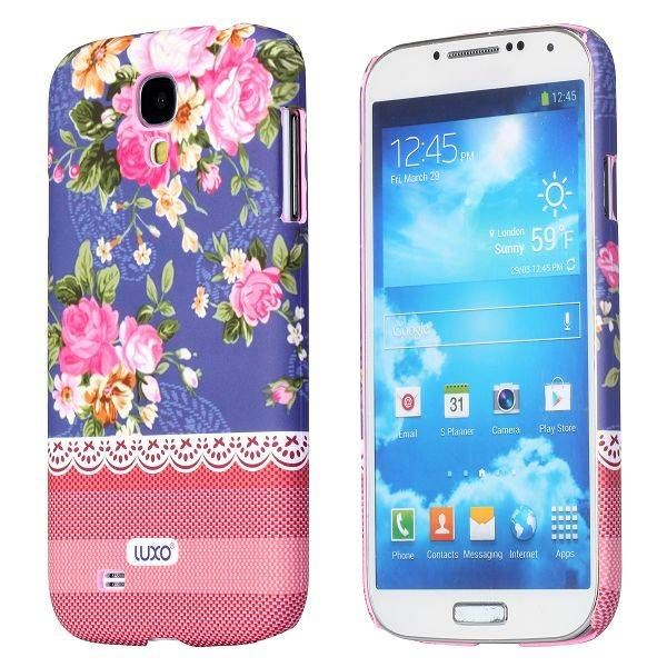 Bloemen paars hoesje Samsung Galaxy S4