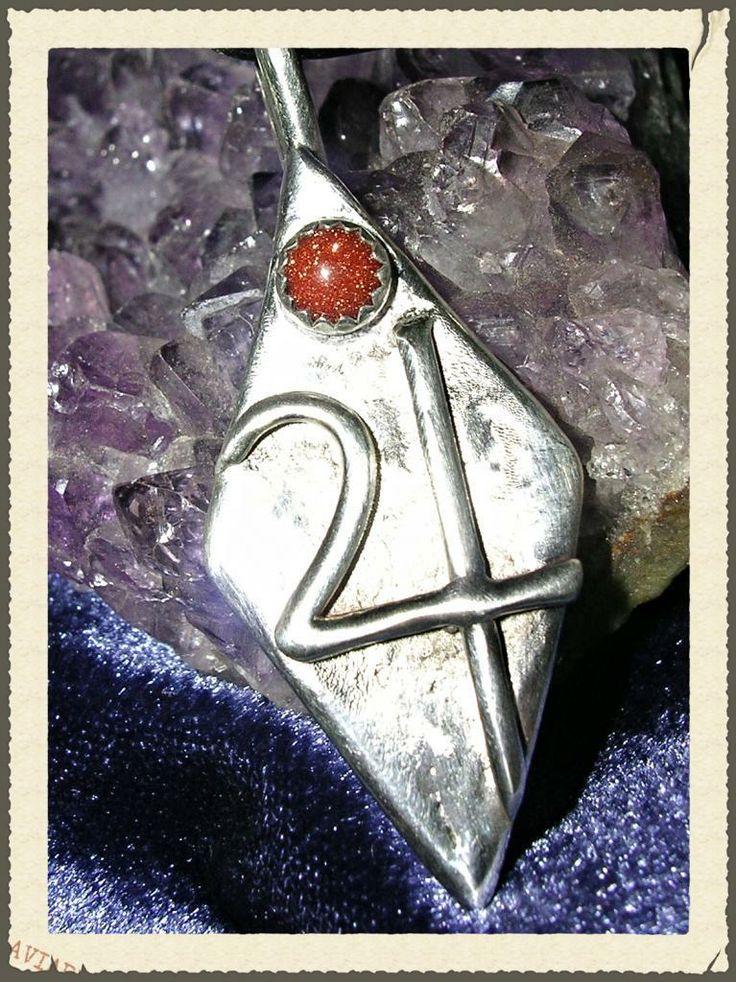 NorseWarlock - Jupiter Planetary Goldstone Silver Pendant Alchemy Tin Symbol