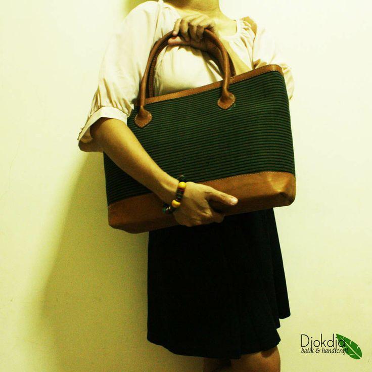 Prameswari Green Lurik Top Handle Bag #djokdjabatik